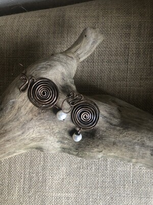 Copper spirals and baroque pearls