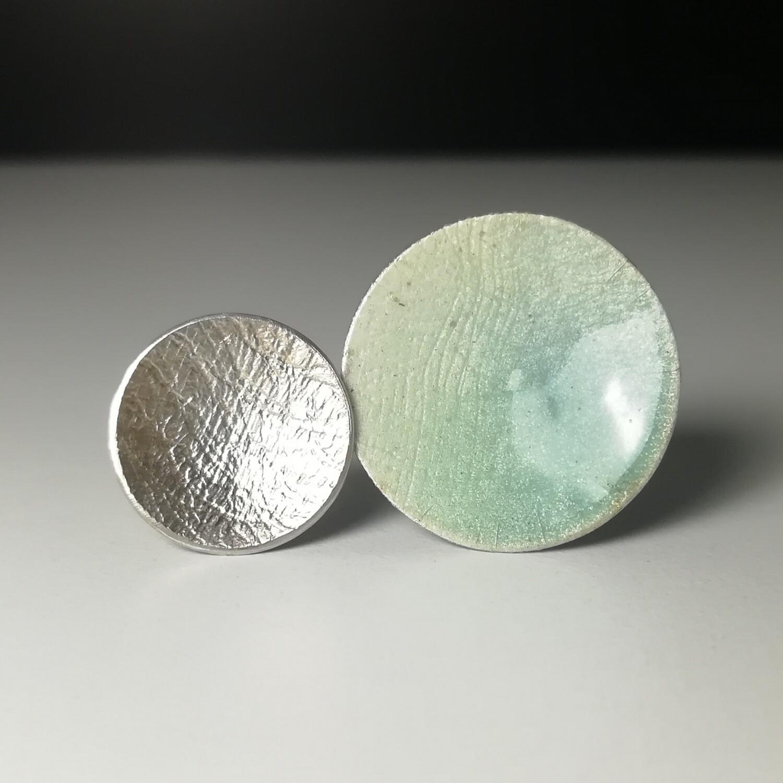 Anillo Circulos plata y esmalte vitreo Ajustable