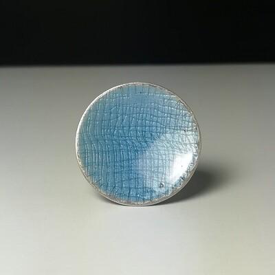 Anillo Circulo Azul plata y esmalte vítreo