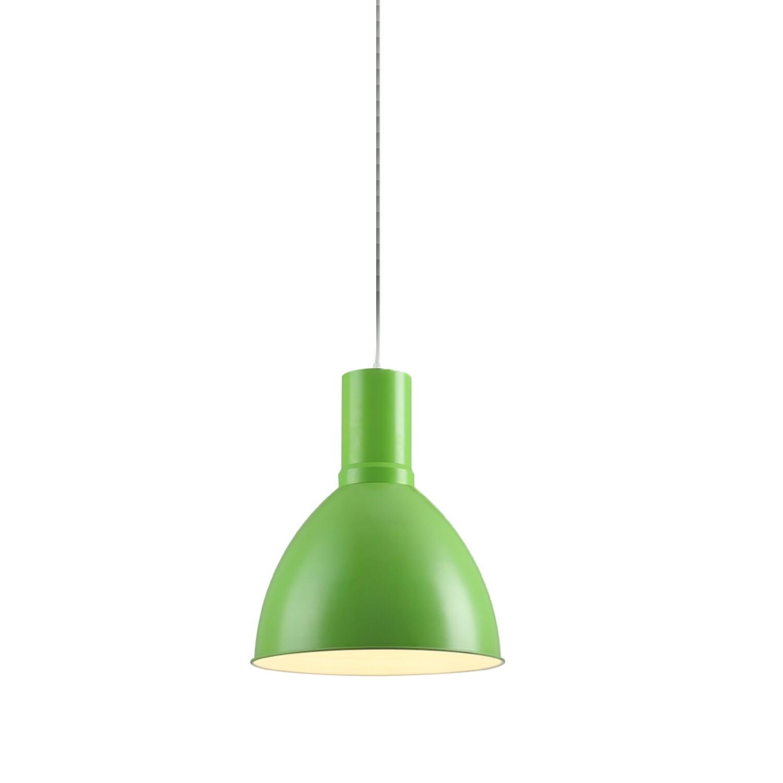 Lámpara colgante modelo Deco media campana curva mediana color verde limón alta brillantez y luz cálida