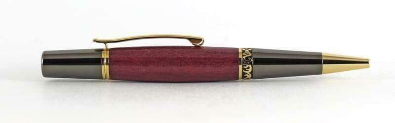 ZETA  Gun metal and gold ballpoint pen kit.