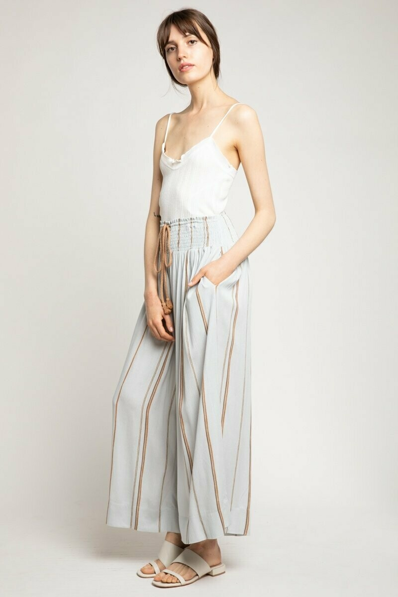 Smocked Waist Wide Pants - 50202
