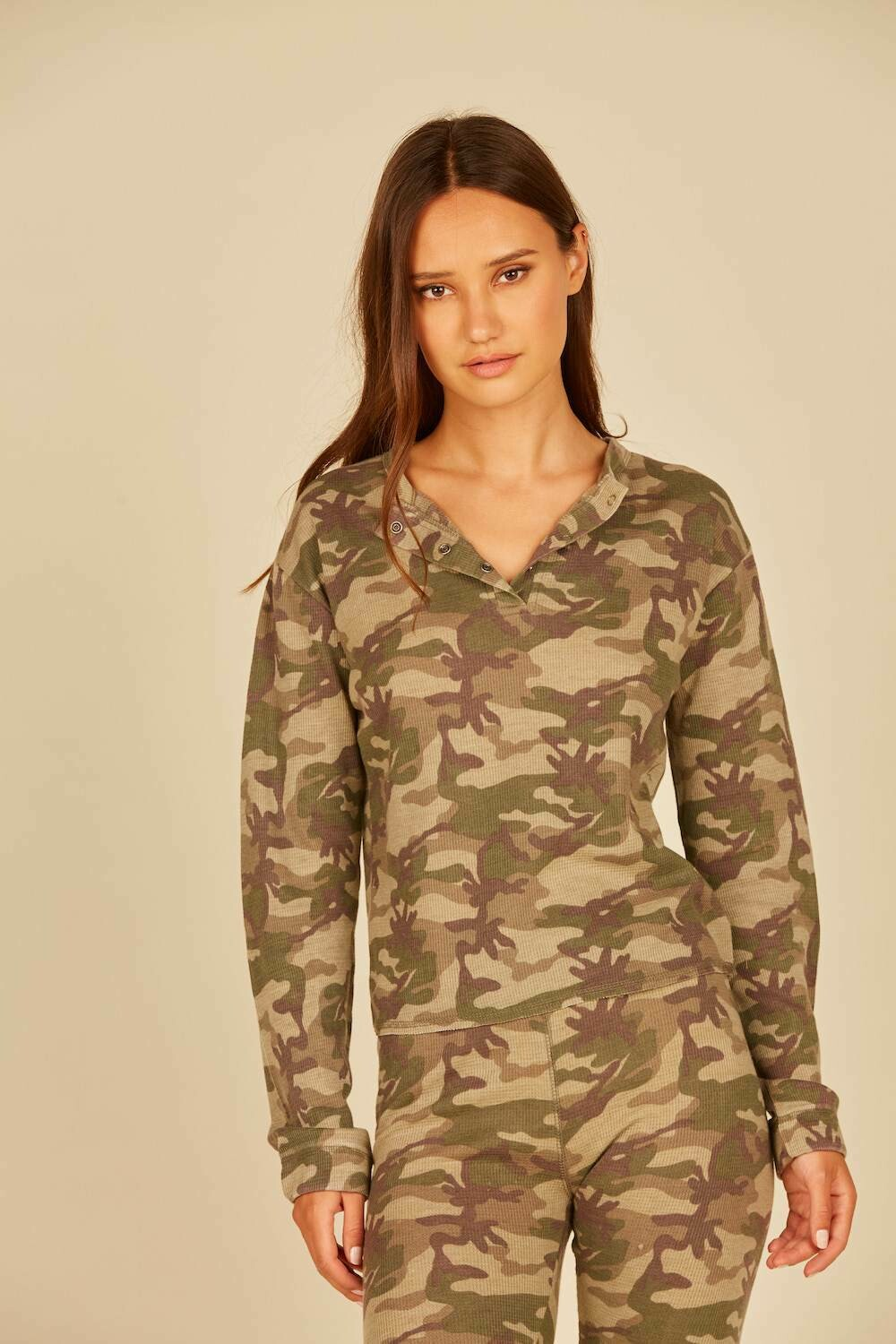 *Camo Thermal Lounge Henley - VH8939