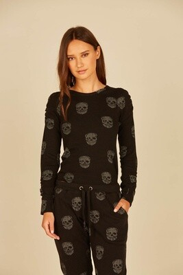 Black Skull Print Thermal Crew - VH8926