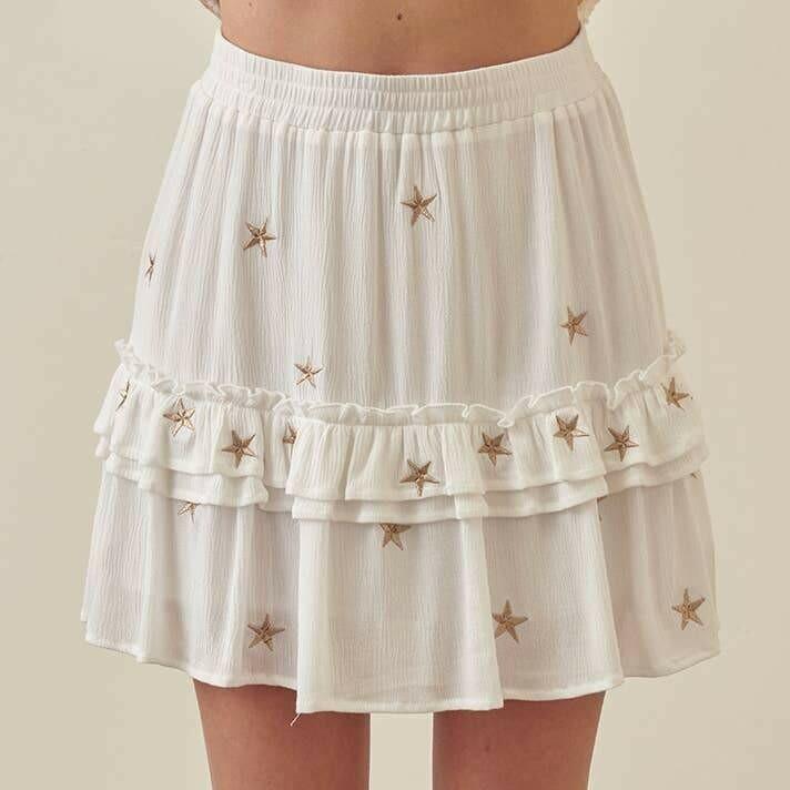 Black Gold Star Skirt -JS2366