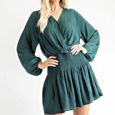 V-Neck Smocked Dress - D2121