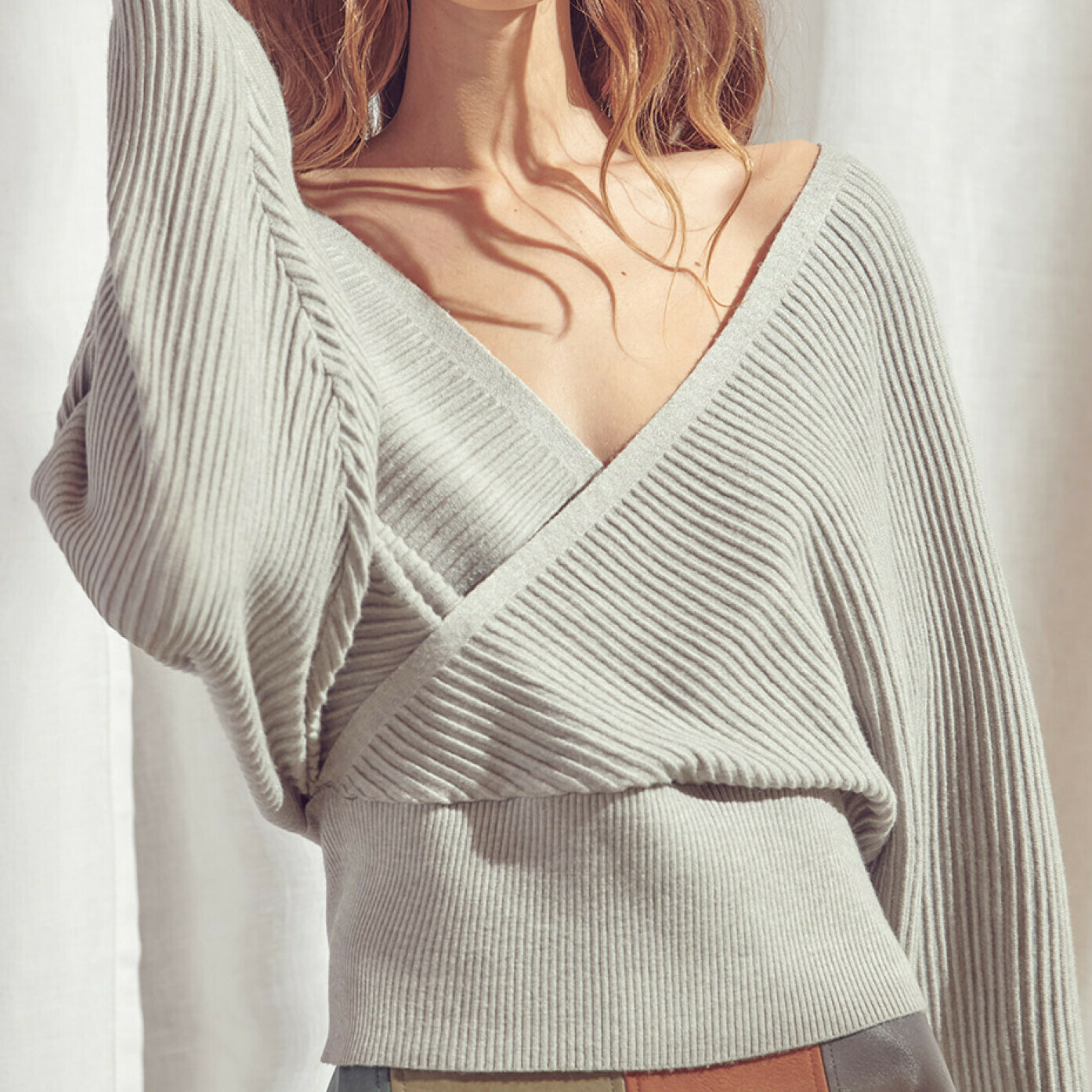 Grey Ribbed Knit Surplice Top - BT1598
