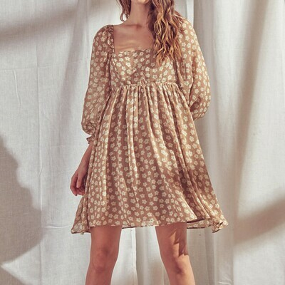 *Sand Print Empire Dress - JD2443H