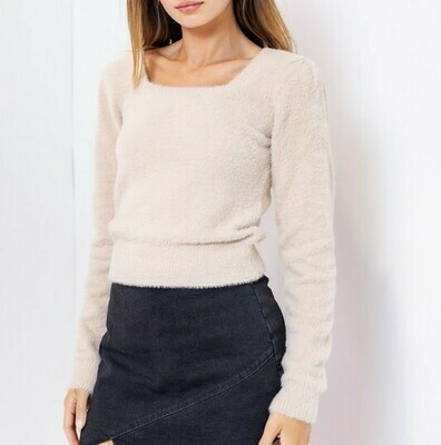 Square Neck Fuzzy Crop Sweater - KWT3136