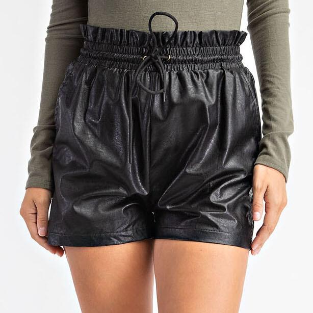 Ruffled Faux Leather Shorts - GP2225