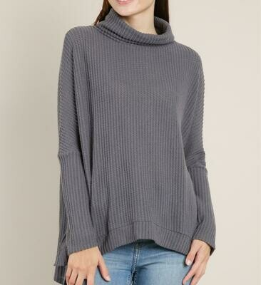 Rib Knit Cowl Neck Sweater - LV4349