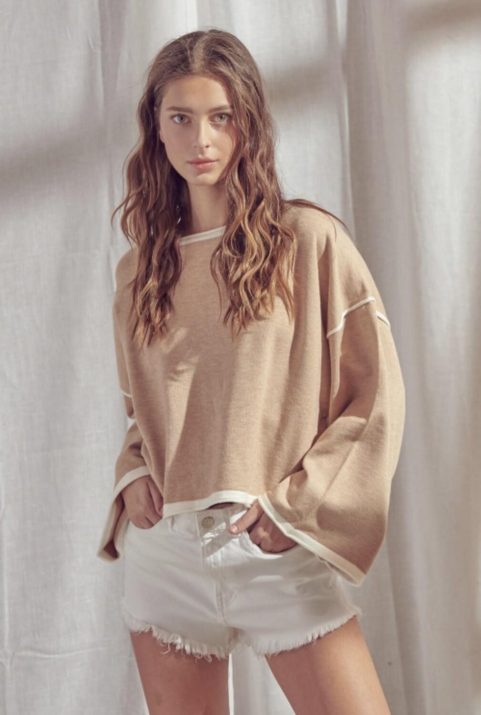 *Sand Oversized Long Sleeve Knit Sweater- ST2713