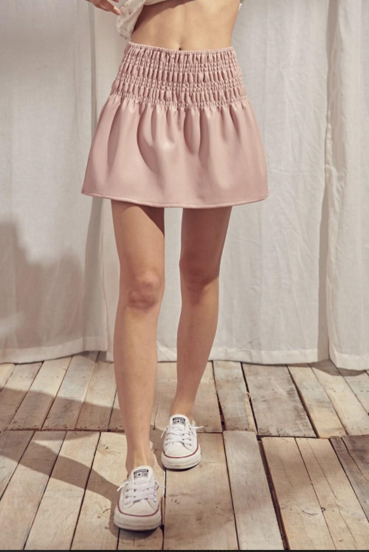 Vegan Leather Mini Skirt- JS3019