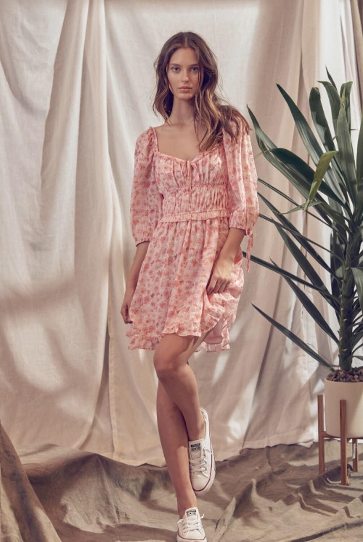 *Peach Floral Mini Dress- JD2826