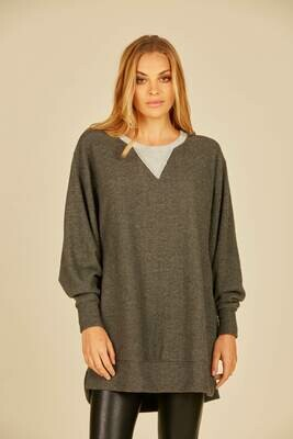 *Two-toned Charcoal Grey V Sweater -S10854