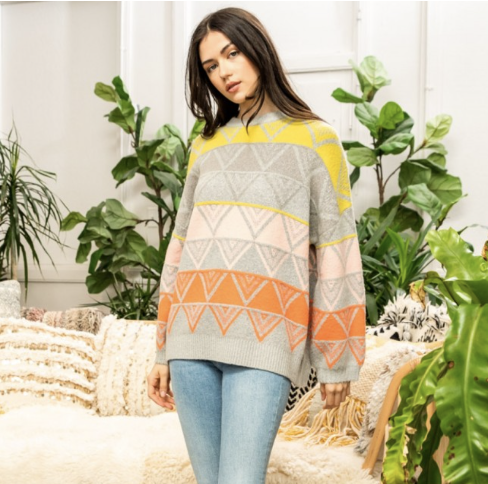 *Triangle pattern print sweater- TMK1128