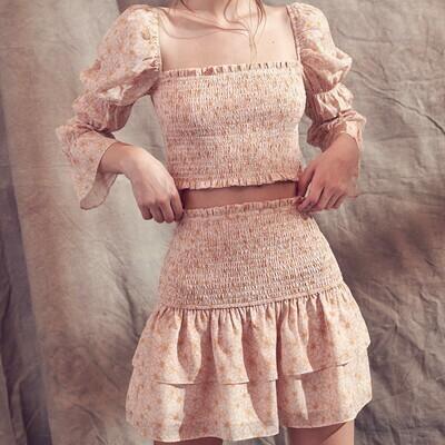 *Daisy Floral Print Skirt- JS1848S