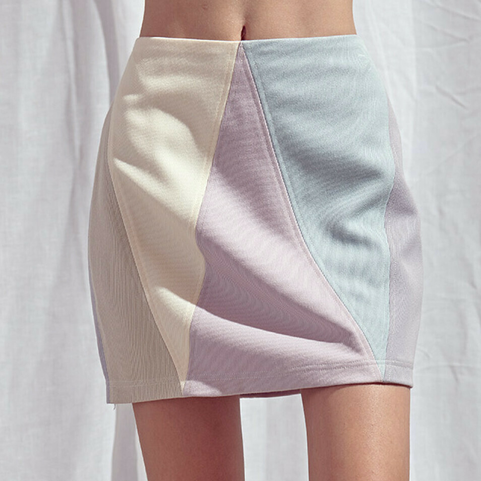 *Pastel Color Block Mini Skirt- BS1841