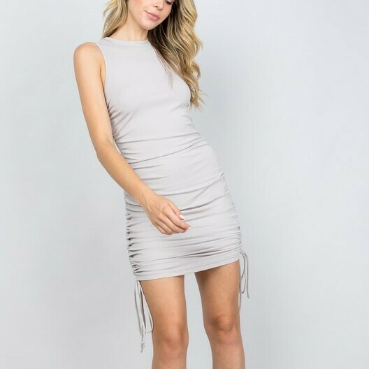 *Ribbed Dress with Gathered Sides - D1799