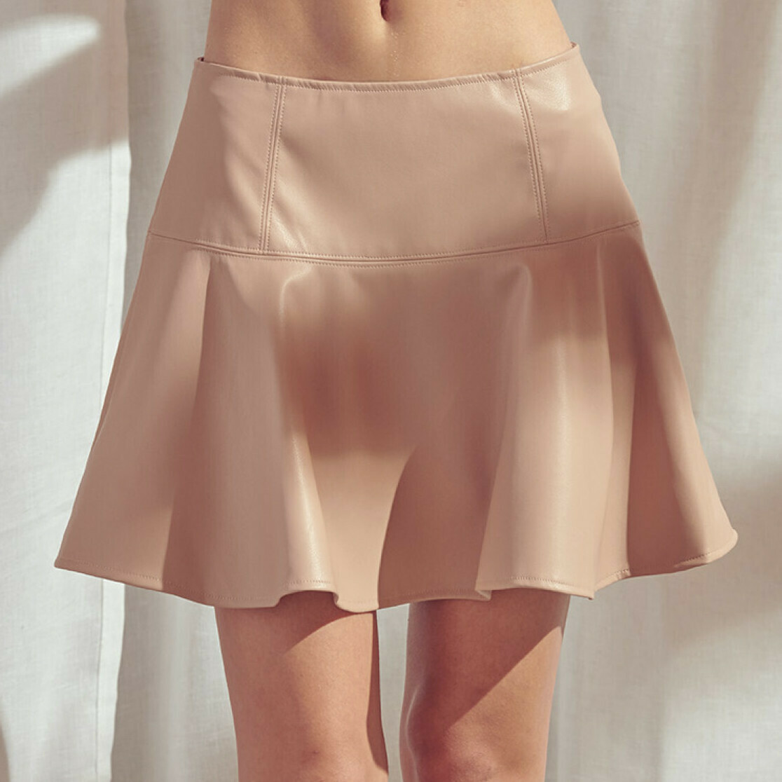 *Peach Faux Leather Skirt - SS2770