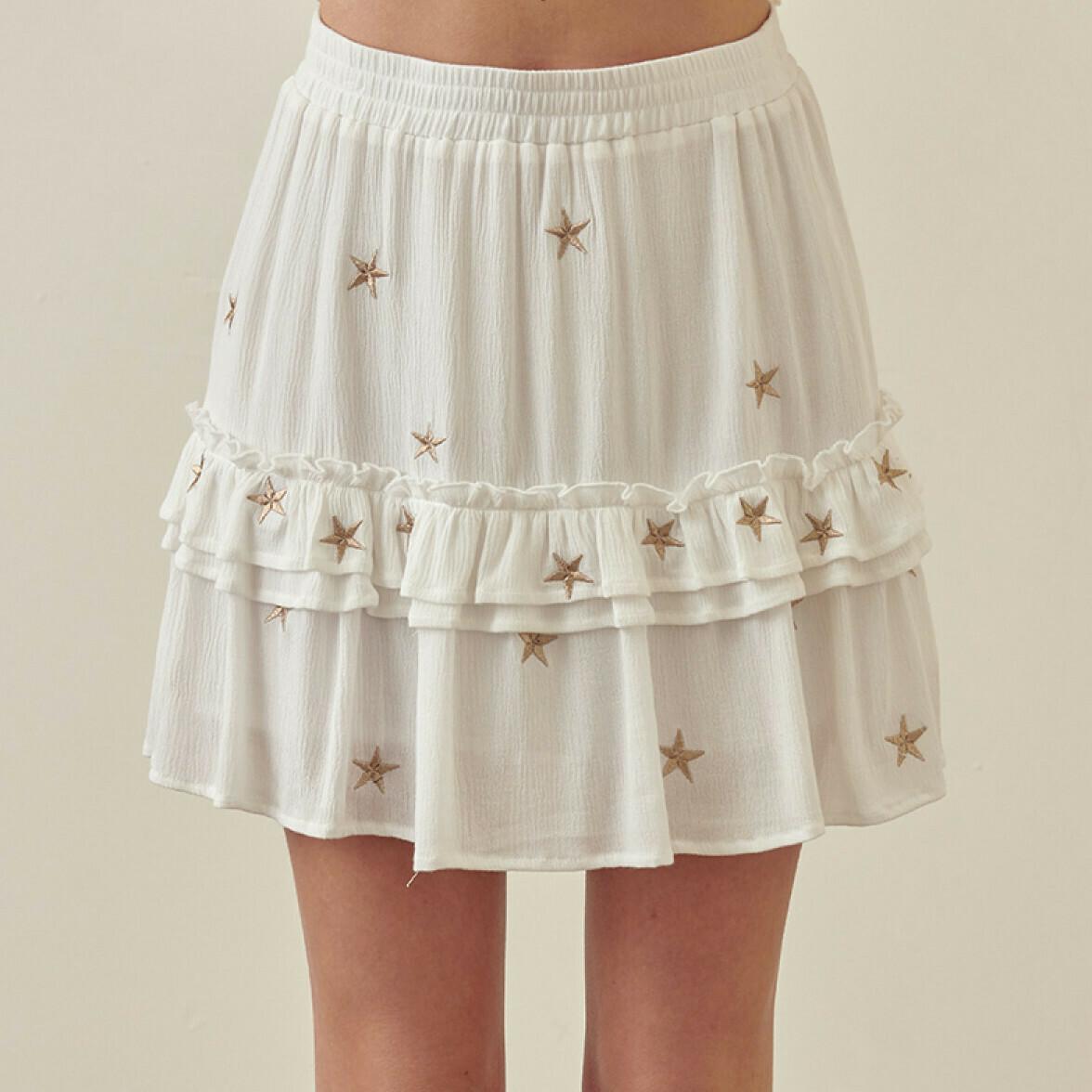 *White and Metallic Gold Star Skirt -JS2366