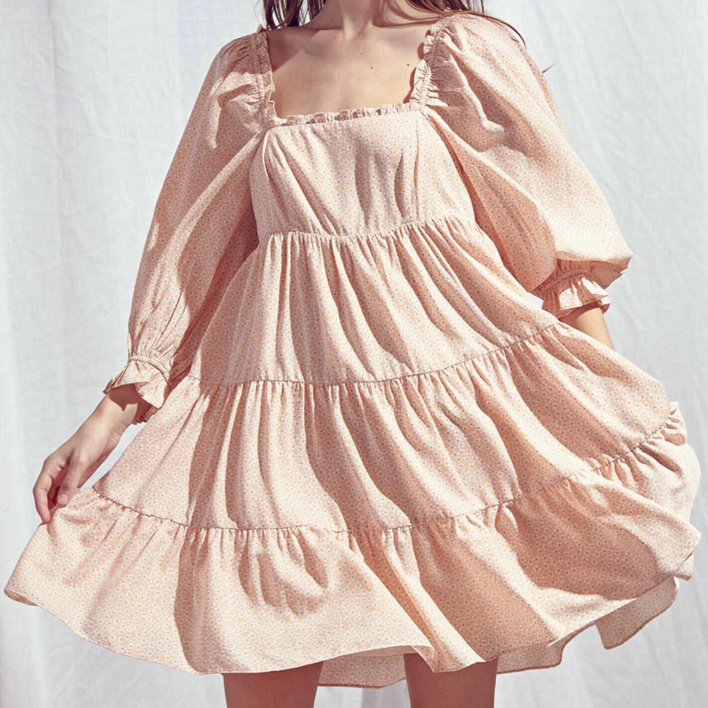*Floral Print Babydoll Mini-Dress-JD2856D