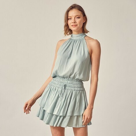 *Halter Neck Ruffle Dress - S17261