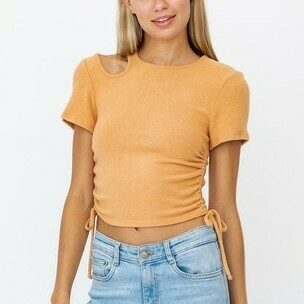 *SH SL Cut-Out Ruched Crop - KT4131