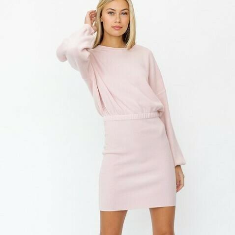 *Round Neck Elastic Waist Sweater Dress - SWD6262