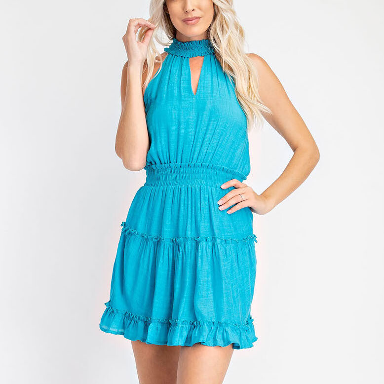 *Ruffled Halter Dress - GD2346