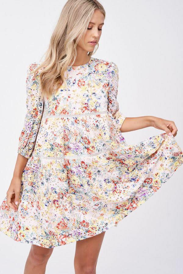*Eyelet Babydoll Mini Dress - IES1678D
