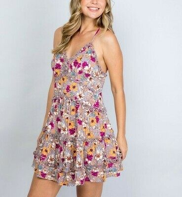 *Floral Mini Frill Dress -IM5103