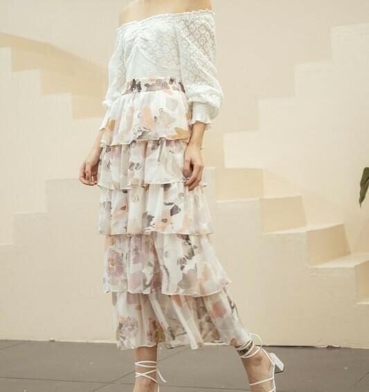 *Floral Tier Maxi Skirt - IM5424B