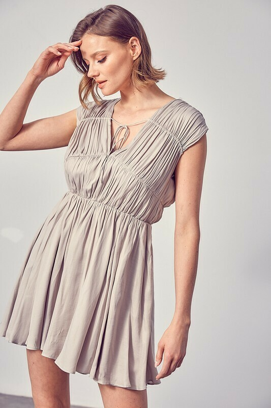 *Ruched Front Tie Dress - Y20137