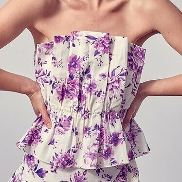 *Flower Multi Strapless Top -Y20426MUL