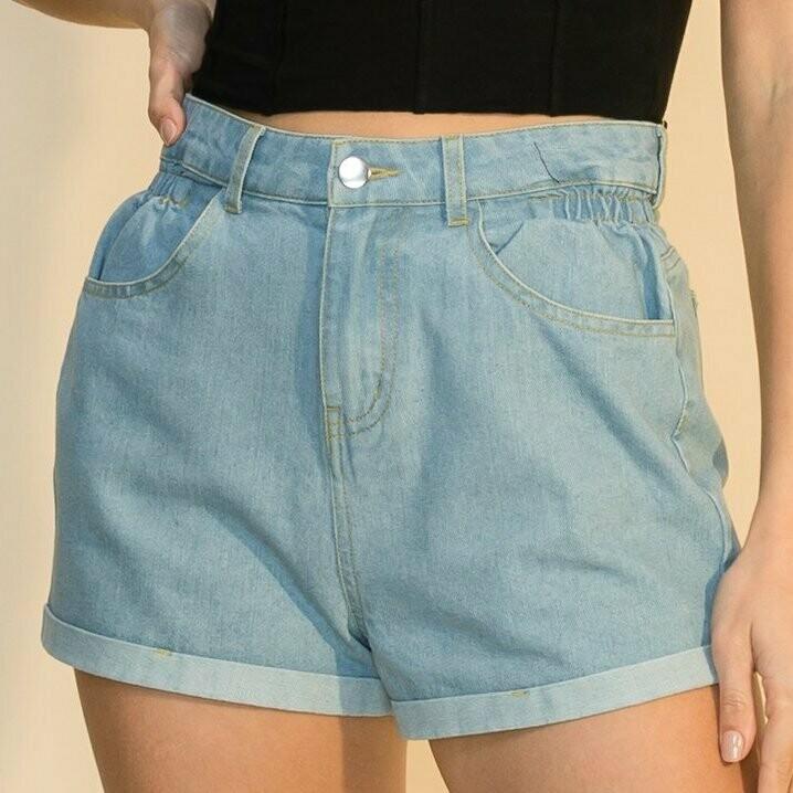 *High Waisted Denim Shorts - HF21E914