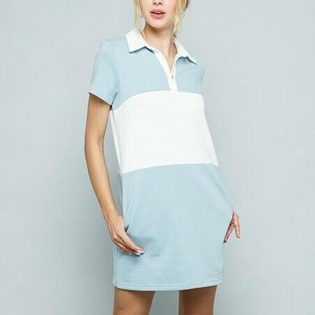 *Color Block  Collar T-Shirt Dress - D1834