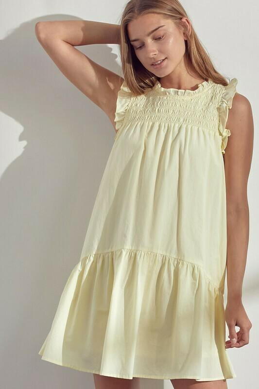 *Ruffle Sleeves with Smocked Yoke Dress - MDR9157