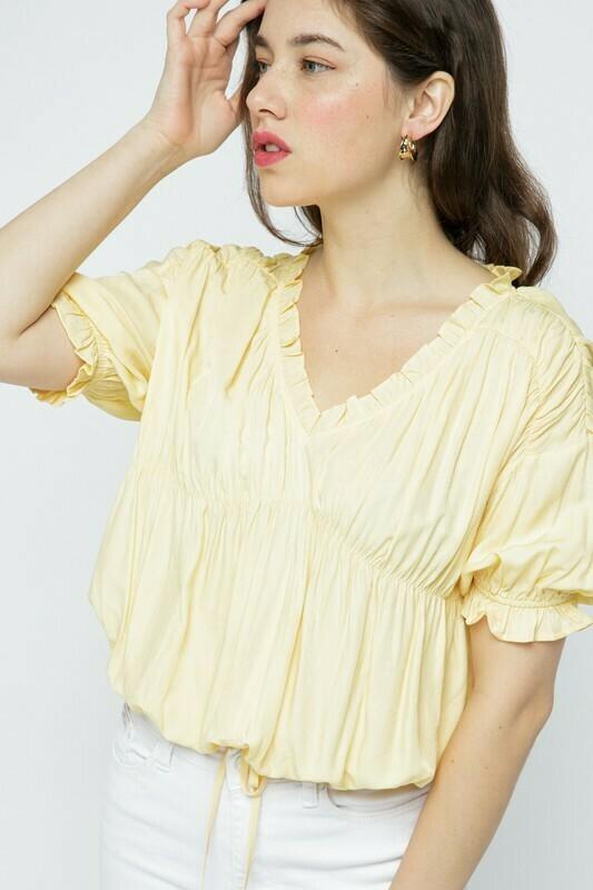 *Lemon Drop Puff Sleeve Blouse - MTP9017