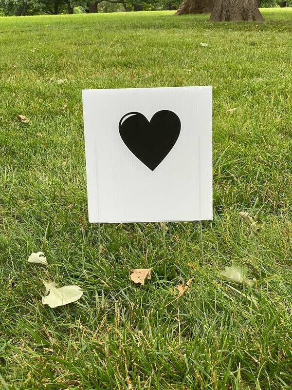 Black Heart Yard Sign – SHIPPING ONLY