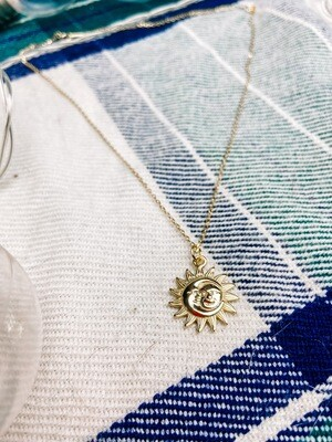 Golden Sun and Moon Necklace