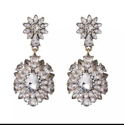Flower Crystal Earrings Statement Earrings