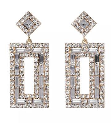 Rectangular Bling Statement Earrings