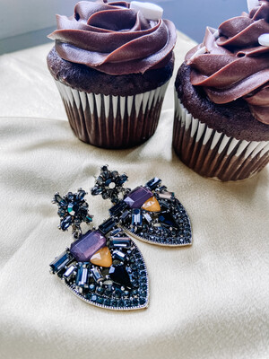 Black Diamond Statement Earrings