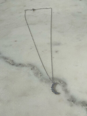 Sparkly Sliver Moon Necklace
