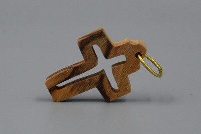Kreuzanhänger aus Olivenholz mit ausgesparter Mitte