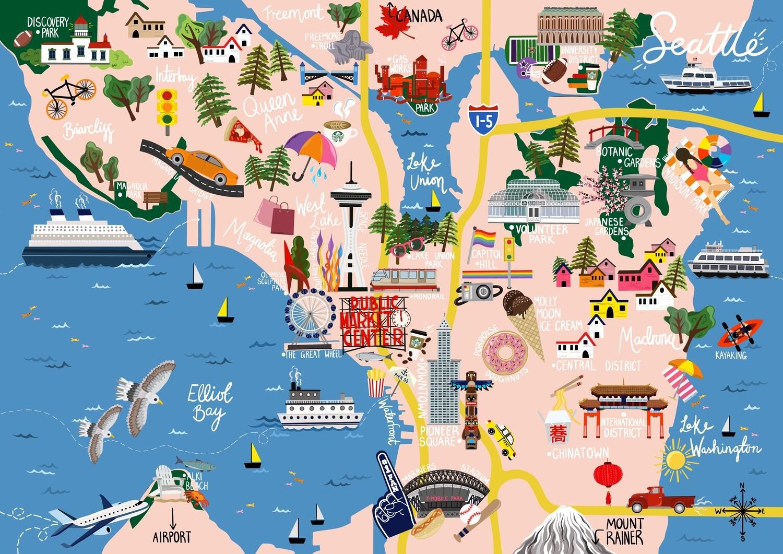 Seattle - Map Print
