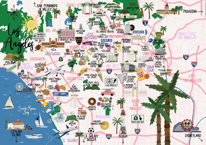 Los Angeles - Map Print