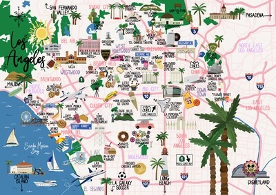 Los Angeles - Map Print