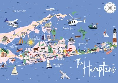 The Hamptons - Map Print